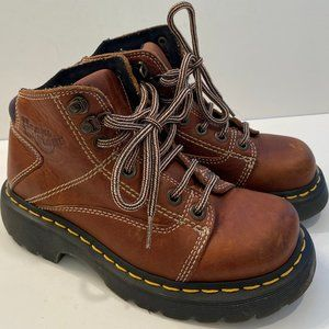 Dr. Martens Tan Lace Up Lug Boots VTG
